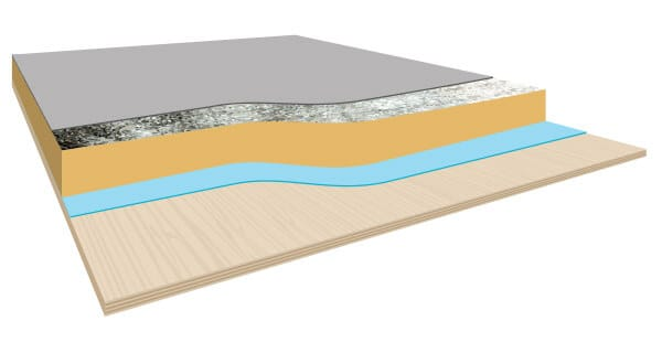 Plywood deck with foiled faced insulation and PVC membrane